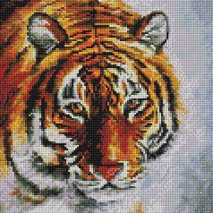 Алмазная мозаика  Тигр на снегу, 30х30 см Белоснежка