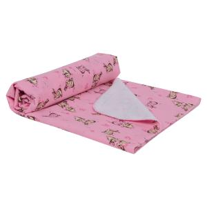 Пеленка Кролики 80 х 120 см, цвет: розовый Звездочка