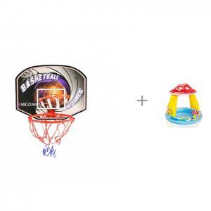 Щит баскетбольный с мячом и насосом Бассейн Intex Мухомор 102х89 см Midzumi