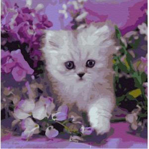 Картина по номерам Котенок в сиреневых цветах 30х30 см Molly