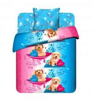 Комплект постельного белья  Пушистые друзья, цвет: голубой/розовый Василек
