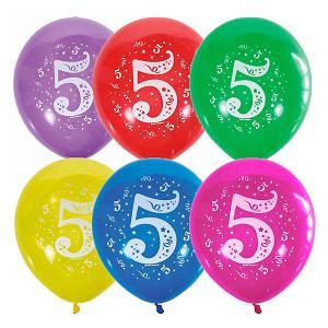 Воздушные шары  Цифра Пять 10 шт, пастель + декоратор Latex Occidental. Цвет: разноцветный