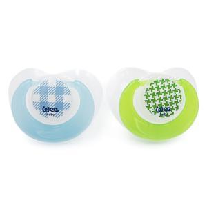 Набор ортодонтических сосок-пустышек Weebaby TREND, 2 шт. в контейнере, голубой - зеленый