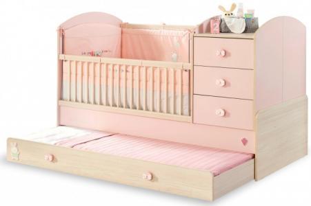 Кроватка-трансформер  Baby Girl с выдвижным спальным местом 130х80/180х80 см Cilek