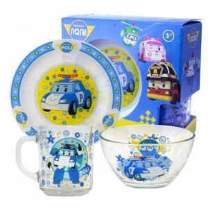 ND Play Набор стеклянной посуды Робокар Поли (3 предмета)