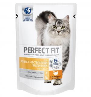 Корм влажный  для взрослых кошек с чувствительным пищеварением, индейка, 85г Perfect Fit