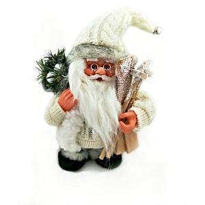 Дед мороз белый  с лыжами и подарками, интерактивный музыкальный идущий 18 см, коробка окошком MAG2000