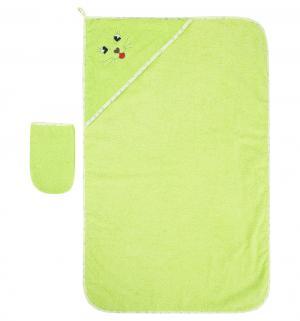 Комплект для купания  полотенце/рукавичка 75 х 85 см, цвет: зеленый Моей крохе