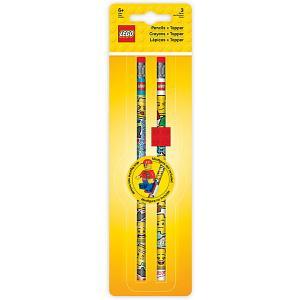 Набор карандашей (2 шт.) с 1 насадкой в форме кирпичика  iconic (смайлик) LEGO. Цвет: красный