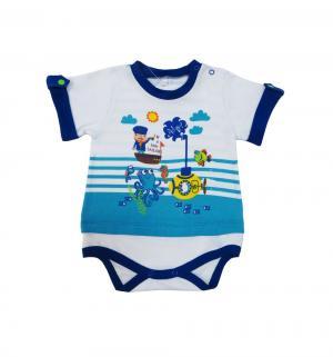 Боди  Подводный мир, цвет: белый/бирюзовый Soni Kids