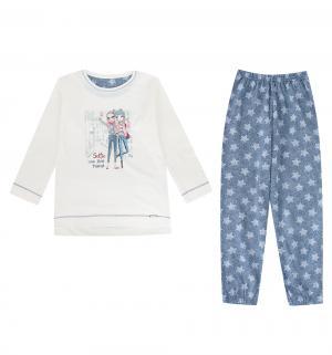 Пижама джемпер/брюки  Selfie, цвет: бежевый/синий Cornette