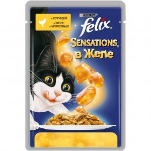 Влажный корм  Sensation для взрослых кошек, курица/морковь, 85г Felix