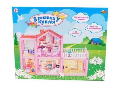 В гостях у куклы Дом кукольный с мебелью и человечками (113 деталей) ABtoys