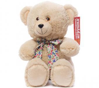 Мягкая игрушка  Медведь с бантом сидит 38 см Нижегородская