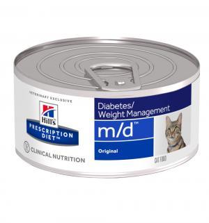 Влажный диетический корм Hills Prescription Diet для взрослых кошек m/d при ожирении и сахарном диабете, печень, 156г Hill's