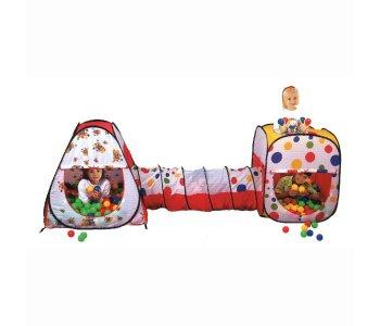 Дом-палатка + 200 шаров (конус+квадрат+туннель) Calida
