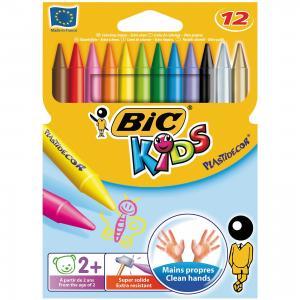 Мелки восковые цветные Три Пластидекор 12 цветов BIC