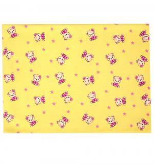 Пеленка Мишки 75 х 110 см, цвет: желтый/розовый Зайка Моя