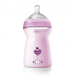 Бутылочка  Natural Feeling с силиконовой соской флексорами полипропилен 6 месяцев, 330 мл, цвет: розовый Chicco