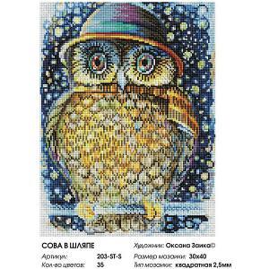 Алмазная мозаика на подрамнике  Сова в шляпе 30х40 см Белоснежка