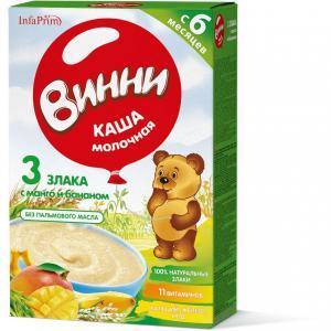 Каша  молочная 3 злака с манго и бананом 6 месяцев 220 г Винни