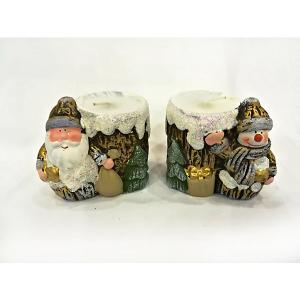 Новогоднее украшение, дед мороз/снеговик-подсвечник со свечей, 8,2*5,8*7,2 см MAG2000