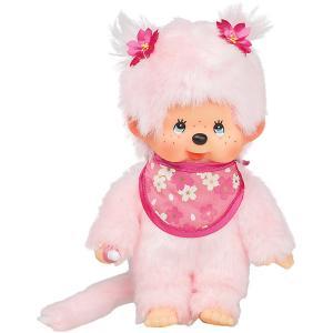 Мягкая игрушка  Мончичи, девочка с розовой шерсткой в слюнявчике сакура, 20 см Monchhichi