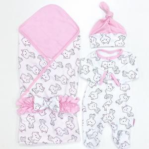 Комплект на выписку  летний (комбинезон, шапочка, плед, пояс-бант) Котятки СуперМаМкет