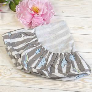 Простыня на резинке  Радуга 75 х 12 см, цвет: серый Amarobaby