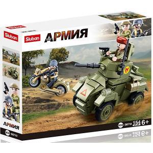 Конструктор  Армия Броневик и мотоцикл, 154 детали Sluban. Цвет: разноцветный