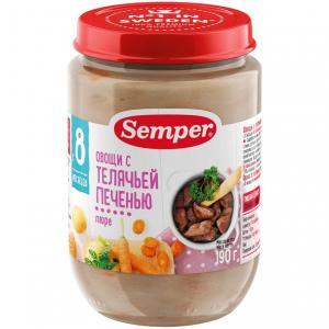 Пюре  овощи с телячей печенью 8 месяцев, 190 г Semper