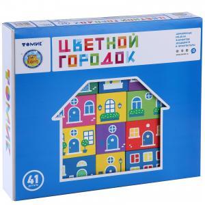 Деревянный конструктор  Цветной городок, 41 деталей Томик