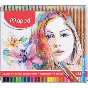 Акварельные карандаши  Artist с кисточкой, 24 цвета Maped