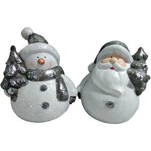 Новогоднее украшение - Дед Мороз/Снеговик с ёлкой, 10 см, 2 MAG2000