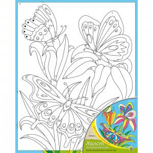 Холст с красками по номераи Бабочки 20х25 см Издательство Рыжий кот