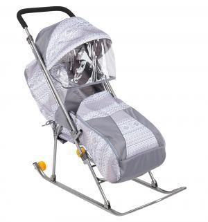 Санки-коляска  Снежинка премиум, цвет: серый Galaxy