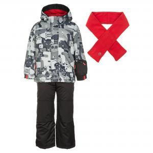 Комплект (куртка, брюки и шарф) DEUX PAR. Цвет: черный