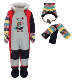 Комплект  комбинезон/шарф/варежки/пинетки, цвет: красный Fobs