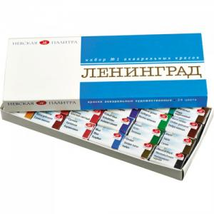 ЗХК  Акварель Ленинград-1 картонная упаковка 24 цвета кюветы 2,5 мл Невская палитра