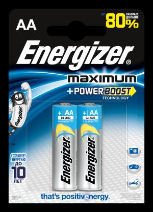 Батарейки  Максимум типа АА, 2 шт. в упаковке Energizer