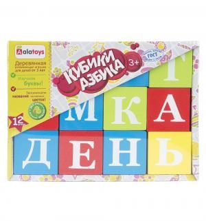 Деревянная игрушка-конструктор  Азбука (12 кубиков) Alatoys
