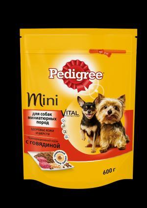Корм сухой  для взрослых собак миниатюрных пород, говядина, 600г Pedigree