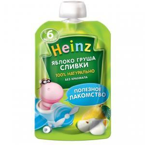 Пюре  яблоко-груша-сливки с 6 месяцев, 90 г Heinz