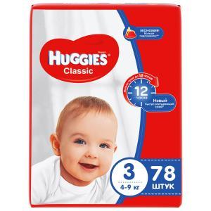 Подгузники  Classic 3 (4-9 кг) 78 шт. Huggies