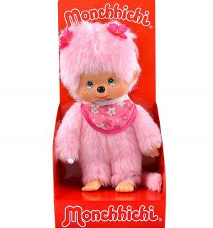 Мягкая игрушка  Девочка с розовой шерсткой в слюнявчике сакура 20 см Monchhichi