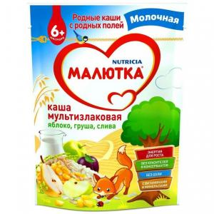 Каша  молочная мультизлаковая с фруктами 6 месяцев 220 г Малютка