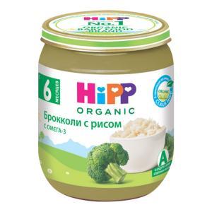 Пюре  брокколи-рис, с 5 месяцев, 125 г Hipp