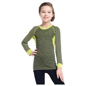 Футболка с длинным рукавом  для девочки Norveg. Цвет: зеленый