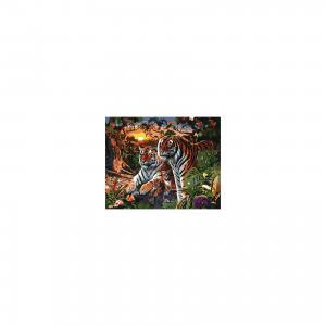 Холст с красками по номерам Семья Тигров 40х50 см Издательство Рыжий кот