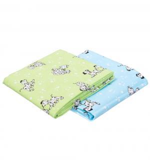 Комплект пеленка 2 шт  130 х 90 см, цвет: голубой/салатовый Sweet Baby
